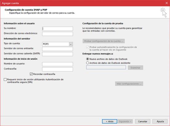 Escriba la información del servidor POP o IMAP