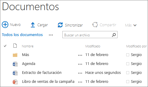 Captura de pantalla de una biblioteca de documentos en SharePoint Server 2016