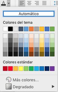 Menú de selección de color de fuente de Word para Mac