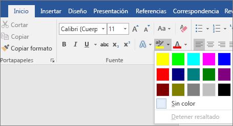 Las opciones Color de resaltado de texto se muestran en la pestaña Inicio.