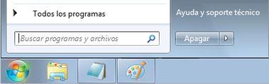 Menú Inicio de Windows 7 con el cuadro Buscar