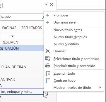 Opciones del menú contextual para títulos en el panel de exploración