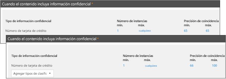 Dos reglas con rangos diferentes para la precisión de coincidencia