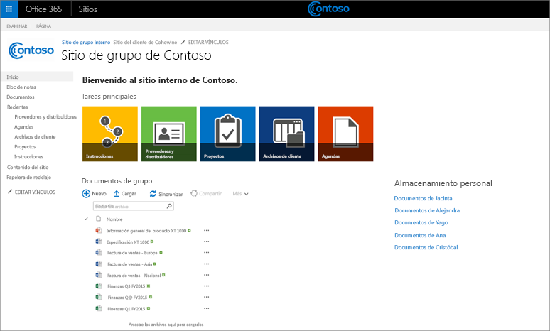 Una captura de pantalla de un sitio de grupo personalizado con un subsitio