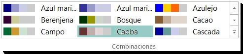 Galería de selección de combinaciones de colores