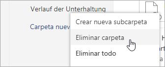 Una captura de pantalla de la opción de menú Eliminar carpeta.