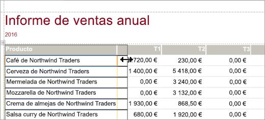 Fragmento de pantalla con los productos de un informe de ventas anual