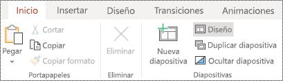 Botón diseño en la cinta de opciones de la pestaña Inicio en PowerPoint online.