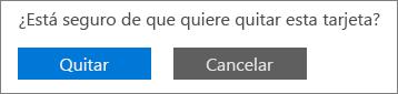 Captura de pantalla que muestra los botones Quitar y Cancelar.