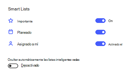 Captura de pantalla de Smart Lists en la configuración de importante, planeada y asignada a mí activada y ocultar automáticamente las listas inteligentes vacías desactivadas.