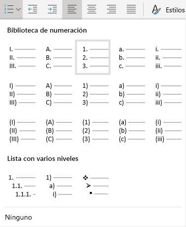 Menú de numeración de Word en línea