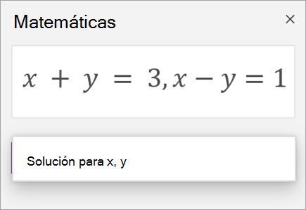 Una ecuación de sistemas escrita con una coma