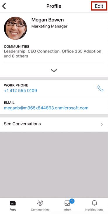 Captura de pantalla que muestra un perfil modificado en la aplicación móvil de Yammer