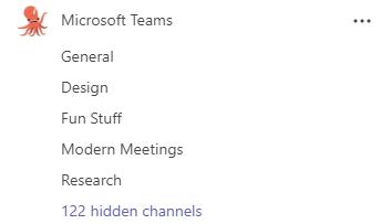 Un equipo llamado Microsoft Teams tiene canales de información general, anuncios, diseño, entretenimiento, y de investigación. Otros canales están ocultos.