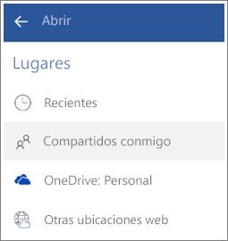 Captura de pantalla que muestra cómo ver archivos que otros usuarios comparten con usted en Android.