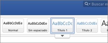 Captura de pantalla de las opciones de estilo de título