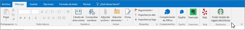 Captura de pantalla de la cinta de opciones de Outlook con el foco en la ficha mensaje donde el cursor señala complementos en el extremo izquierdo. En este ejemplo, los complementos son los complementos de Office, PayPal, Evernote, Yelp y Starbucks.