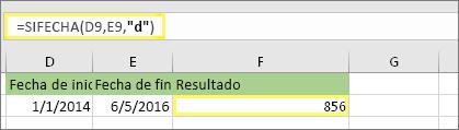 """=DIFFECHA(D9,E9,""""d"""") con el resultado de 856"""
