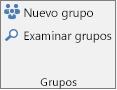 Botones de Nuevo grupo y Examinar grupos de la cinta