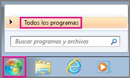 Buscar aplicaciones de Office mediante la opción Todos los programas en Windows 7