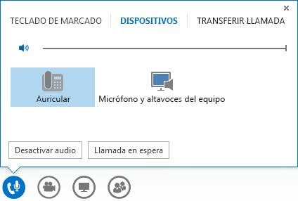 Captura de pantalla de los controles de llamada de audio