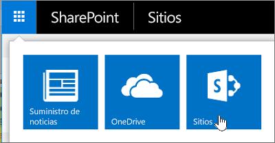 En la esquina superior derecha de la página, elija el iniciador de aplicaciones y, después, elija Sitios.
