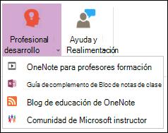 Captura de pantalla de los botones disponibles en la ficha desarrollo Professional