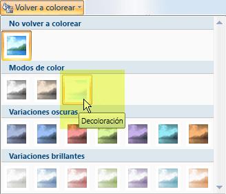 Seleccione el botón Volver a colorear y, luego, en Modos de color, seleccione la opción Decolorar.