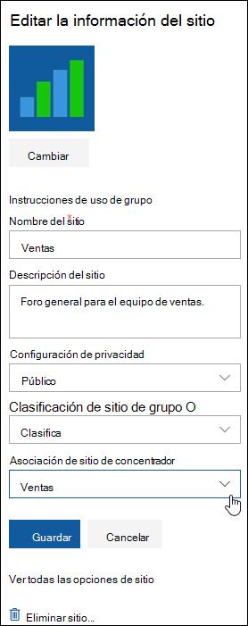 Asociar un sitio de SharePoint a un sitio de concentrador