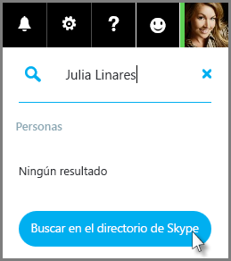 Haga clic en Buscar en el directorio de Skype