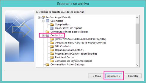 Elija la carpeta de contactos que desea exportar.