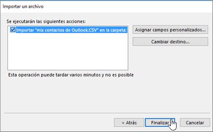 Al importar contactos de Gmail al buzón de Office 365, haga clic en el botón Finalizar para comenzar la migración
