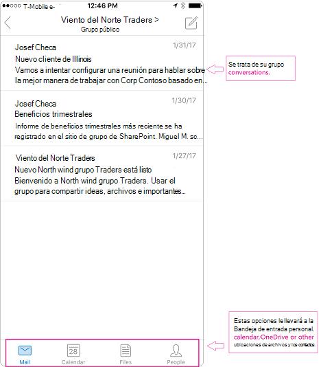 Vista de conversación de un grupo en la aplicación móvil de Outlook