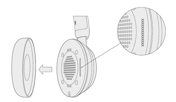 Auriculares USB modernos de Microsoft con almohadilla quitada