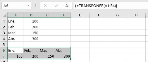 Resultado de la fórmula con las celdas A1:B4 transpuesto en las celdas A6:D7