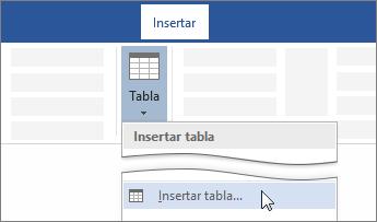 Opción Insertar tabla en la cinta de opciones de Word