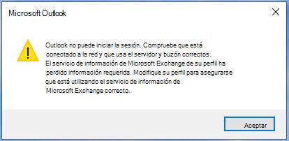 Outlook no puede iniciar sesión.