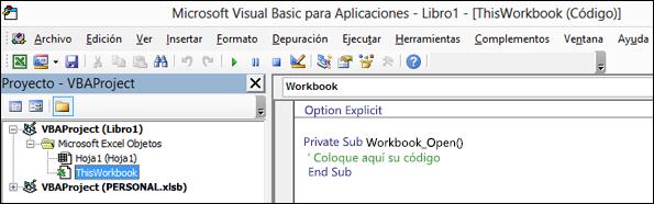 Módulo ThisWorkbook en el Editor de Visual Basic (VBE)