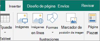 Haga clic en Insertar y, a continuación, haga clic en el marcador de posición de imagen