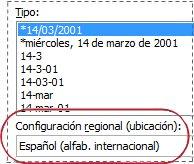Cuadro Configuración regional en el cuadro de diálogo Formato de celdas