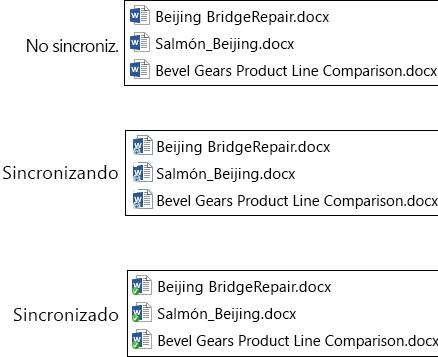 Los iconos de archivo cambian a medida que se cargan y sincronizan con OneDrive para la Empresa en Office 365