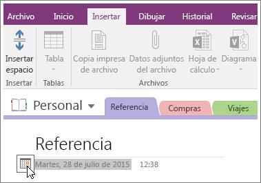 Captura de pantalla de cómo cambiar la marca de tiempo de una página en OneNote 2016