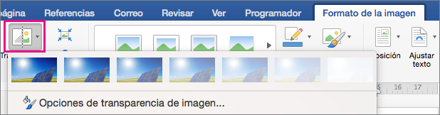 En la ficha Formato de imagen, se resalta la transparencia.