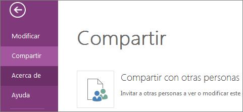 Comando Compartir en OneNote Online