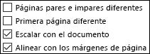 Opciones de encabezado y pie de página en el cuadro de diálogo Configurar página
