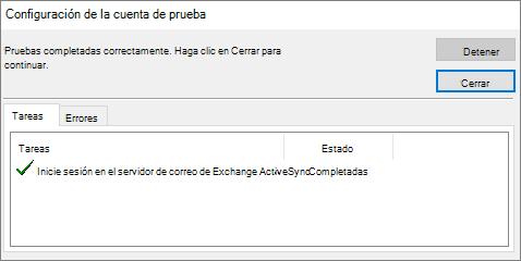 Confirmación de la configuración de cuenta de prueba, configuración del servidor, agregar cuenta a Outlook