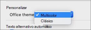 La lista desplegable del tema de Office donde el usuario puede seleccionar colorido o un tema clásico