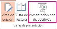 Hacer clic en Presentación con diapositivas