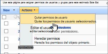 Quitar los permisos de usuario del menú de acciones
