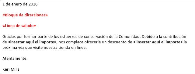 """Ejemplo de carta de combinación de correspondencia en Word que muestra el campo """"bloque de direcciones"""" y el campo """"línea de saludo""""."""